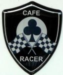 3D GEL sticker  SET of 2 'CAFE RACER SHIELD'  Size approx 28x35mm.